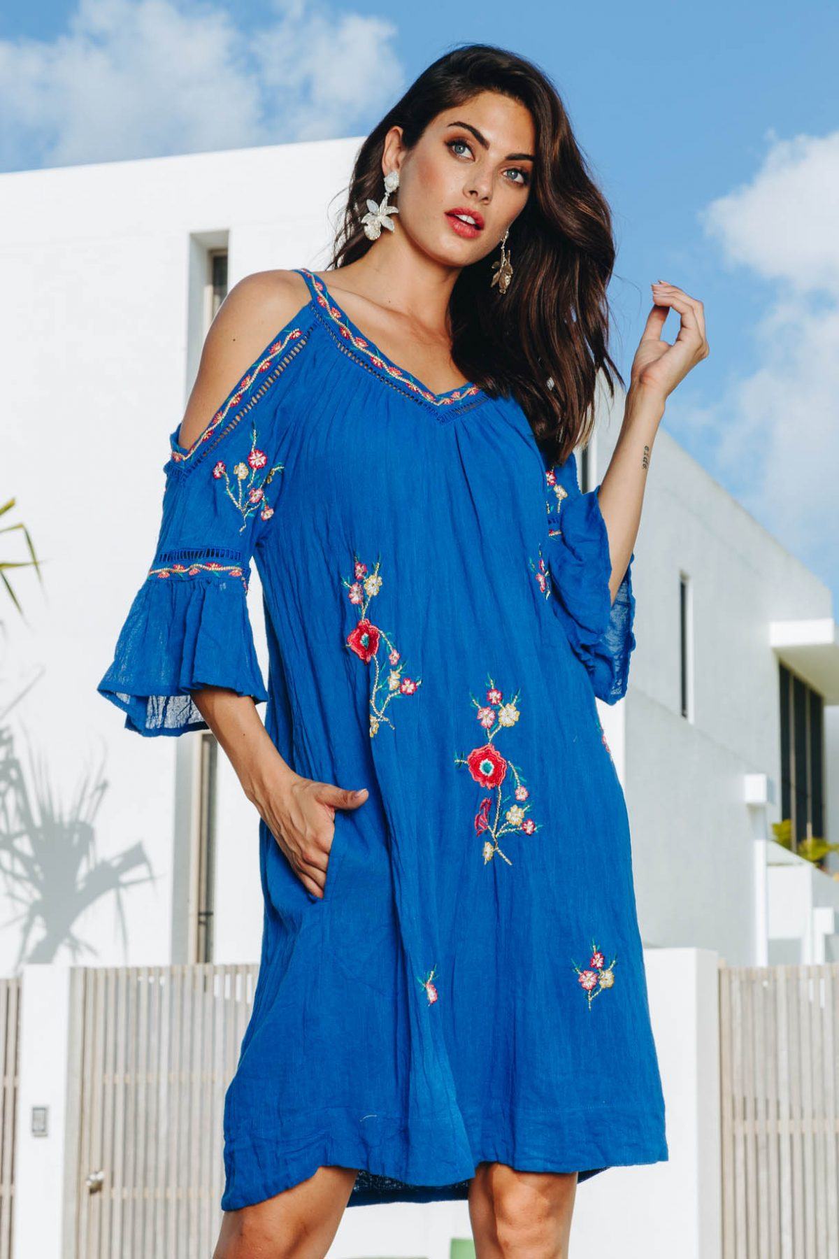 Lulasoul Salvador Cold Shoulder Dress collection August 2019